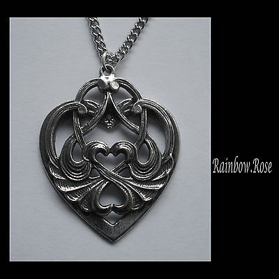 Chain Necklace #1255 Pewter DECORATIVE HEART PENDANT (32mm x 25mm)