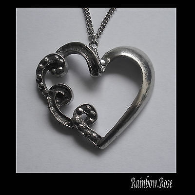Chain Necklace #1258 Pewter CURLY HEART PENDANT (39mm x 36mm)