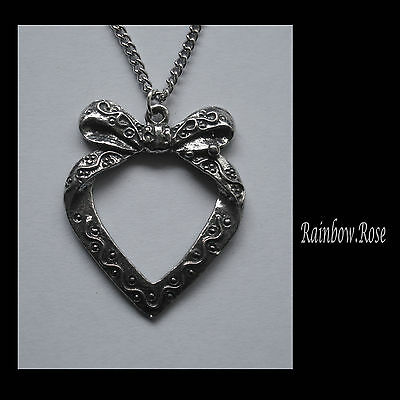 Chain Necklace #1260 Pewter HEART w/ BOW PENDANT (33mm x 27mm)