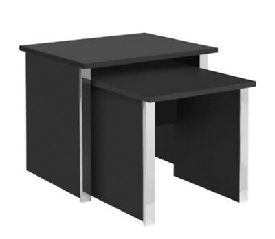 Nest of Tables Black Set of 2 Coffee Occassional Side End Tables Chrome Trim