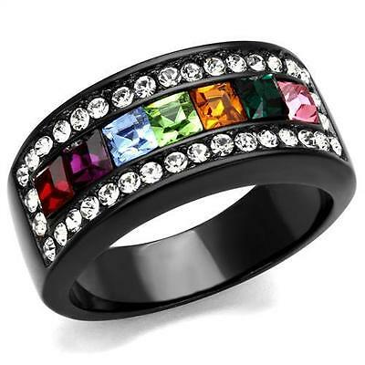 Black Stainless Steel Princess Rainbow cz Wide Band multi-color ring