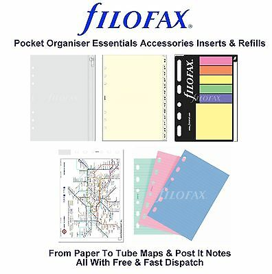 Filofax Pocket Organiser Essentials Accessories Insert Refill Replacement Pack