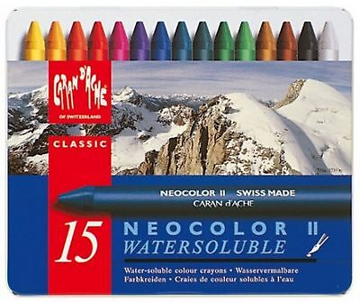 Caran Dache Neocolor II Watersoluble Wax Oil Crayon Pastels Art Sketch Set Of 15
