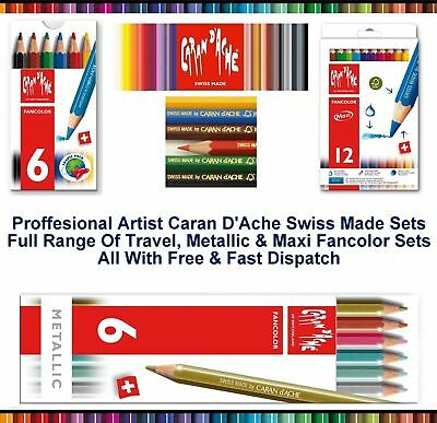Caran Dache Fancolor Metallic Mini Maxi Water Soluble Colour Pencils Art Sketch