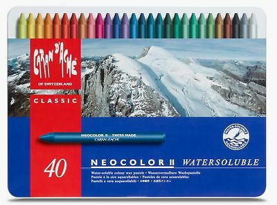 Caran Dache Neocolor II Watersoluble Wax Oil Crayon Pastels Art Sketch Set Of 40