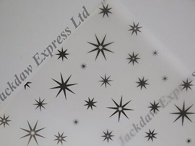 Vellum Printed A4 110gsm Translucent Paper - Black 8 Pointed Star Design JLH5