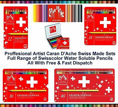 Caran Dache Swisscolor Water Soluble Artist Sketching Colour Pencil Metal Set