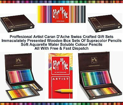 Caran Dache Supracolor Wooden Box Gift Water Soluble Pencil Artist Sketch Sets