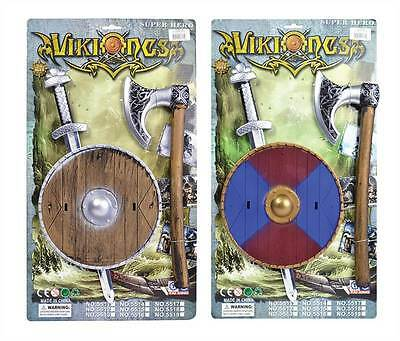 Viking Sword, Shield + Axe Set, Childs, Fake Toy Prop, Plastic #US