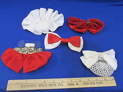 5 Vintage Bows On Barrettes Clips Hair Accessories Variety 2 White 2 Red 1 Combo