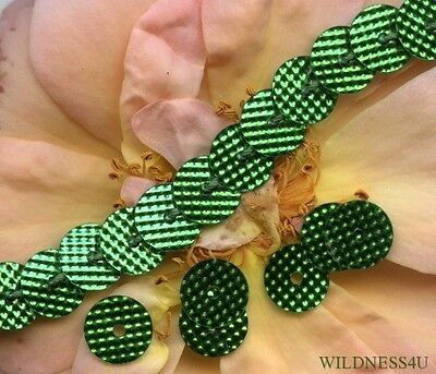 Bright EMERALD Metallic indent DOTS COUTURE VINTAGE SEQUINS PAILLETTES 6mm trim