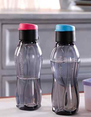 Tupperware Black Water Bottles 25 oz Set of Two w/ Pour Seals Blue & Pink New