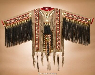 """Authentic Indian Native American WAR~Shirt Beaded Fringed Elk Leather 66"""" x 33"""""""