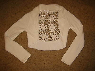 White House Black Market Off-White Crochet Back Cropped Sweater Shrug M
