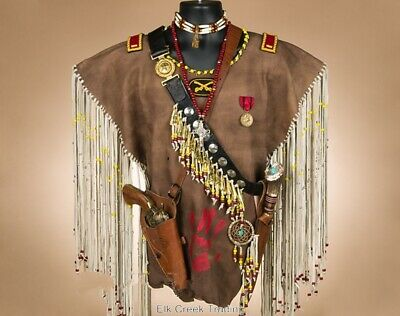 Authentic Handmade Creek Indian Native American Warrior Shirt w/ Knife & Pistol