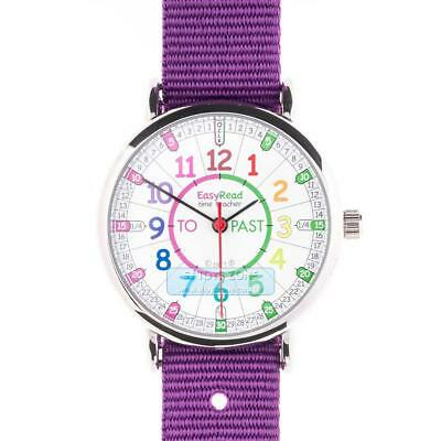 EasyRead Time Teacher Kids Watch 33mm Colour Past To Purple Strap Stainless Stee
