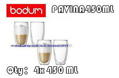 IN BOX BODUM PAVINA DOUBLE WALL CLEAR THERMO-GLASSES x4 450ML