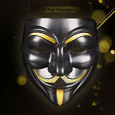 V For Vendetta Mask Guy Fawkes Anonymous Halloween Cosplay Party Fancy Dress