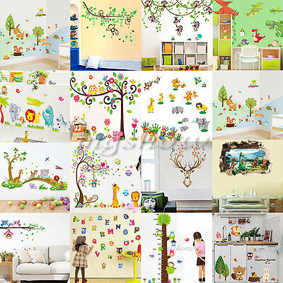 Owl Animal Wall Stickers Monkey Jungle Tree Nursery Deer Baby Room Decal Mural
