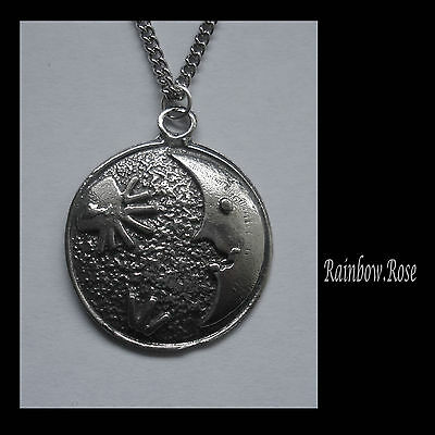 Pewter Necklace on Chain #1269 MOON & STAR DISC PENDANT (30mm x 26mm)