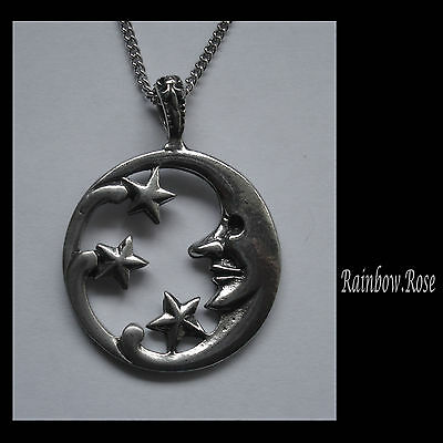 Chain Necklace #1273 Pewter MOON & STARS PENDANT (44mm x 33mm)