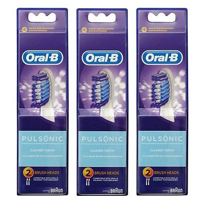 6 x Oral B Pulsonic Electric Toothbrush Replacement Heads - Brand New & Sealed