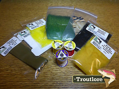10 Pc Fly Tying Materials Kit #4 - Thread, Feathers, Hair Set Starter Pack - New