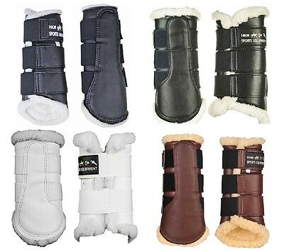 HKM Comfort FLEECE LINED Brushing Boots | EQUI LEATHER | ALL Sizes/Colours |8585