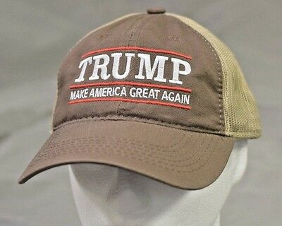 MAKE AMERICA GREAT AGAIN-Donald Trump Hat Republican 2016-Brown Tan Mesh Cap