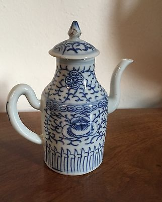 Antique Chinese Porcelain Ewer Small Tea Pot Cream Jug Creamer with Lid 19th c.