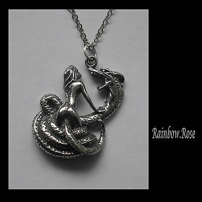 Pewter Necklace on Chain #1320 SERPENT & WOMAN (25mm x 18mm) snake