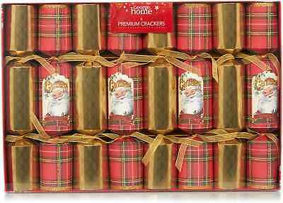 8 x ASDA George Home Traditional Tartan & Gold Premium Christmas Crackers