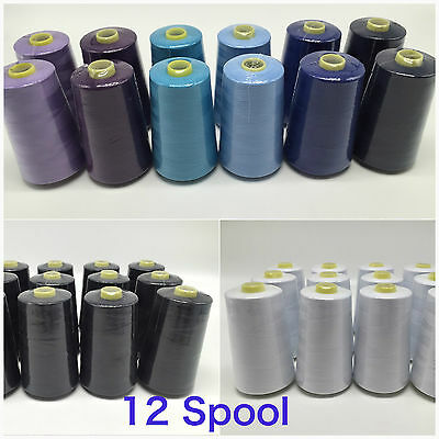 12X Black/White Overlocking Industrial Sewing Threads Polyester 5000Yards