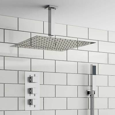 Complete Bathroom Shower Set Concealed Thermostatic Mixer Valve & Ceiling Head