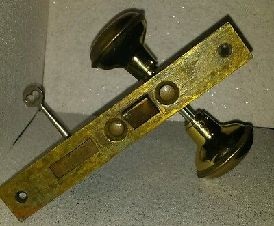 Antique Brass Door Lock with Skeleton Key Brass Vintage Knob's