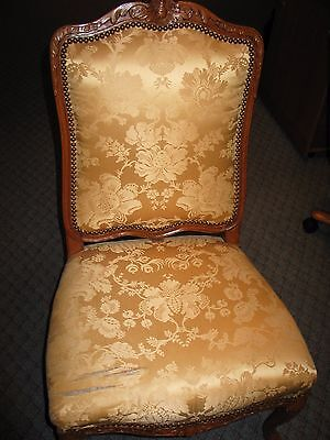 Pair of 1700's Authentic French Regency Louis XV Gold Silk Design Chairs