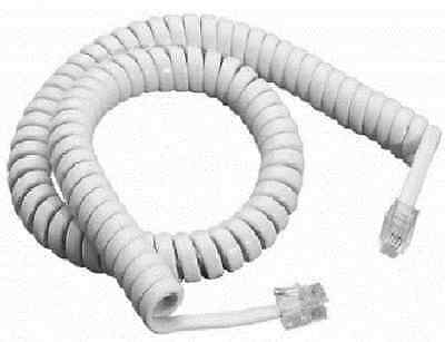 Telephone Phone Curly Handset Lead Cable Cord Wire Rj10 Plug White 3M