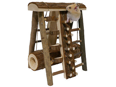 New Rosewood Small Pet Animal Hamster Mice Wooden Activity Toy Assault Course