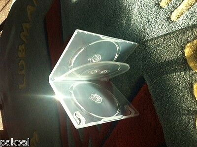100 14mm Quad 4 DVD Case with Left Booklet Clips, Swing Tray, Super Clear,TN4SC