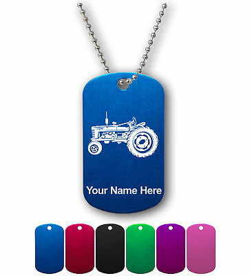 Personalized Military ID Dog Tag with Chain - Old Farm Tractor, Farmer, Farming