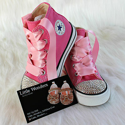 e8fed768a76b50 SWAROVSKI RHINESTONE BABY Girl Toddler Pink Converse Shoes -  60.00 ...
