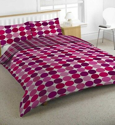 Retro Plum & Pink Abstract Circle Print Duvet Quilt Cover Bedding + Pillowcases