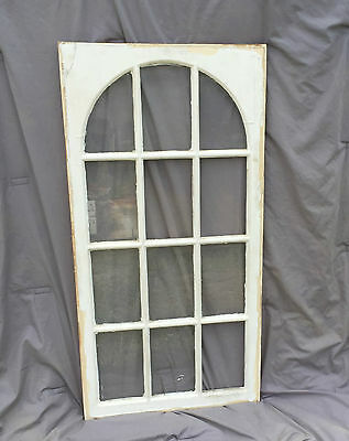 Antique Window Dome 12 Lite Arch Top Cabinet Door Shabby Cottage Chic Vtg 982-16