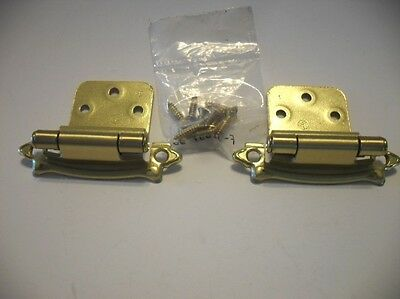 "Vintage NOS BRASS Plated Steel Cabinet Hinges 3/8"" Inset Self-Closing Amerock"