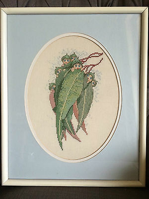 PROFESSIONALLY FRAMED Completed Cross Stitch Needlepoint GUMNUT BABIES May Gibbs
