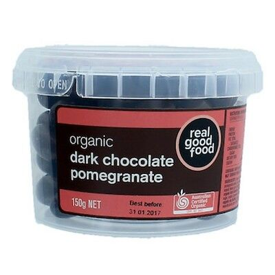 3 X Real Good Food Choc Coated Pomegranate Dark Organic (Tub) 150g