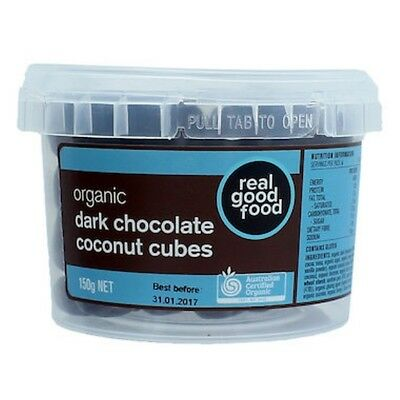3 X Real Good Food Choc Coated Coconut Cubes (Soft) Dark Organic (Tub) 150g
