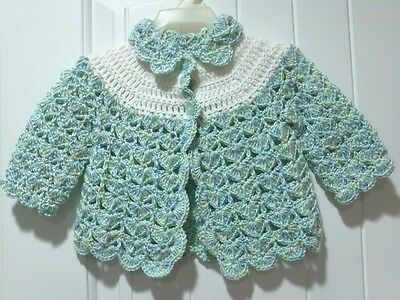 Handmade Crochet Infant Baby Unisex Sweater- Scallop Edge 3-6 Months