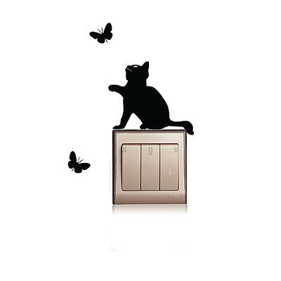 DIY Black Cat Light Switch Sticker Wall Decal PVC Removable Art Mural Room Decor