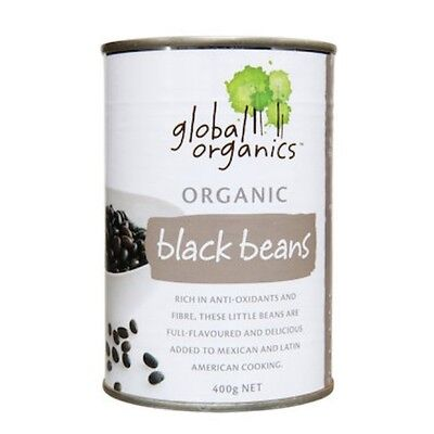 3 X Global Organics Beans Black Organic (canned) 400g